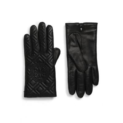 Tory Burch Fleming Quilted Lambskin Leather Gloves, Black