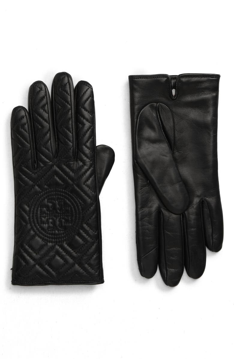 TORY BURCH Fleming Quilted Lambskin Leather Gloves, Main, color, 001