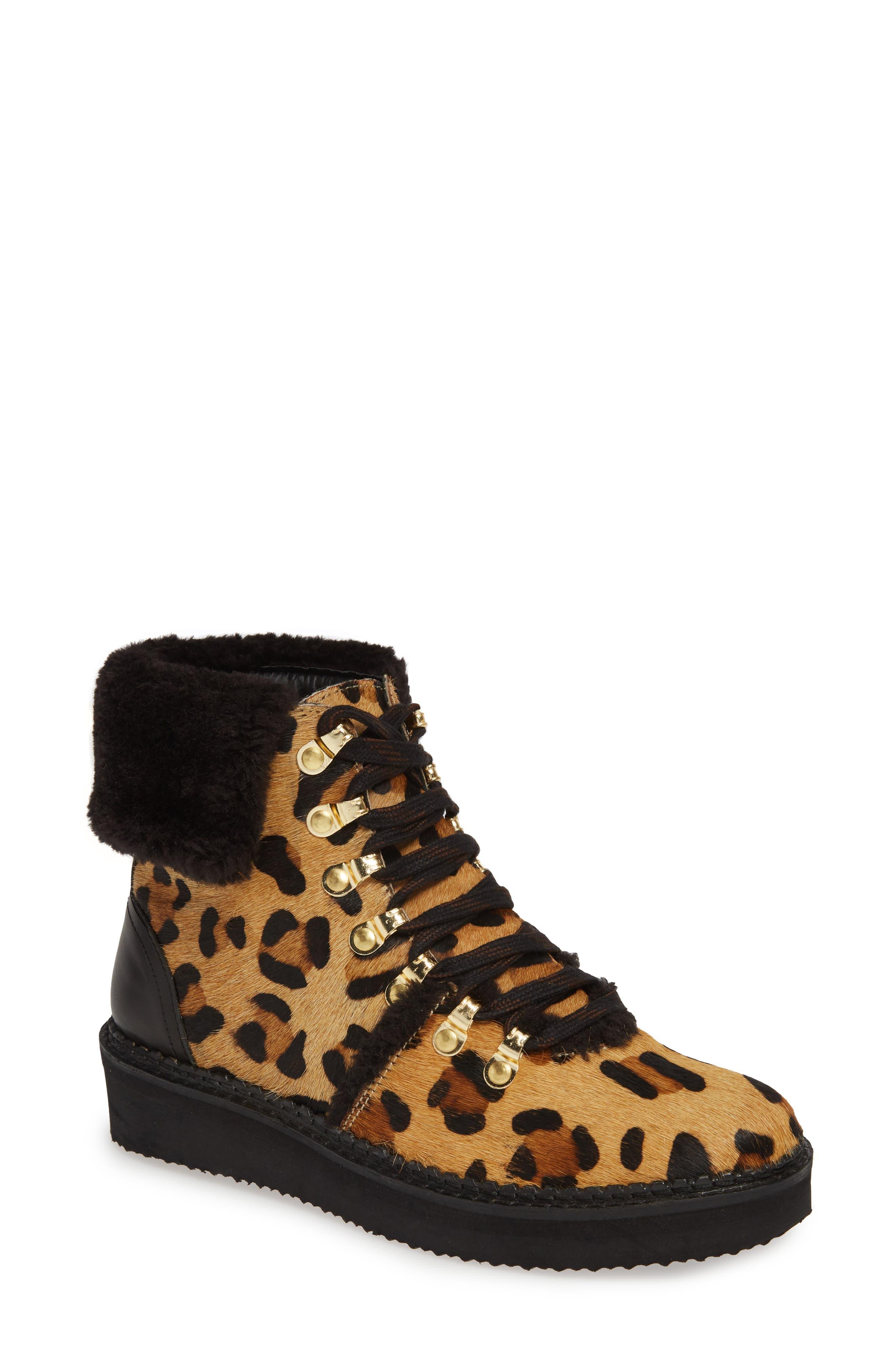 Tonkin Genuine Calf Hair Hiker Boot, Main, color, BLACK LEOPARD LEATHER