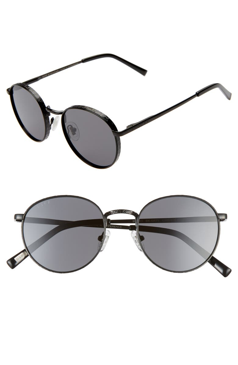 Brooks 50mm Round Sunglasses by Diff