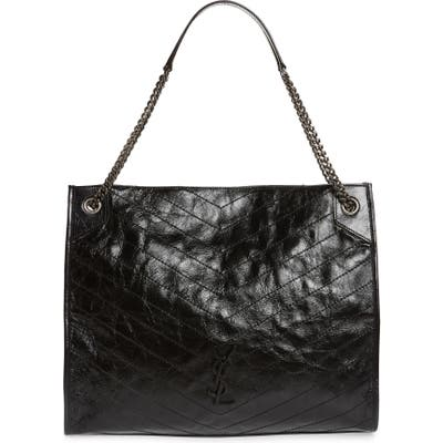 Saint Laurent Large Niki Calfskin Leather Shopper - Black