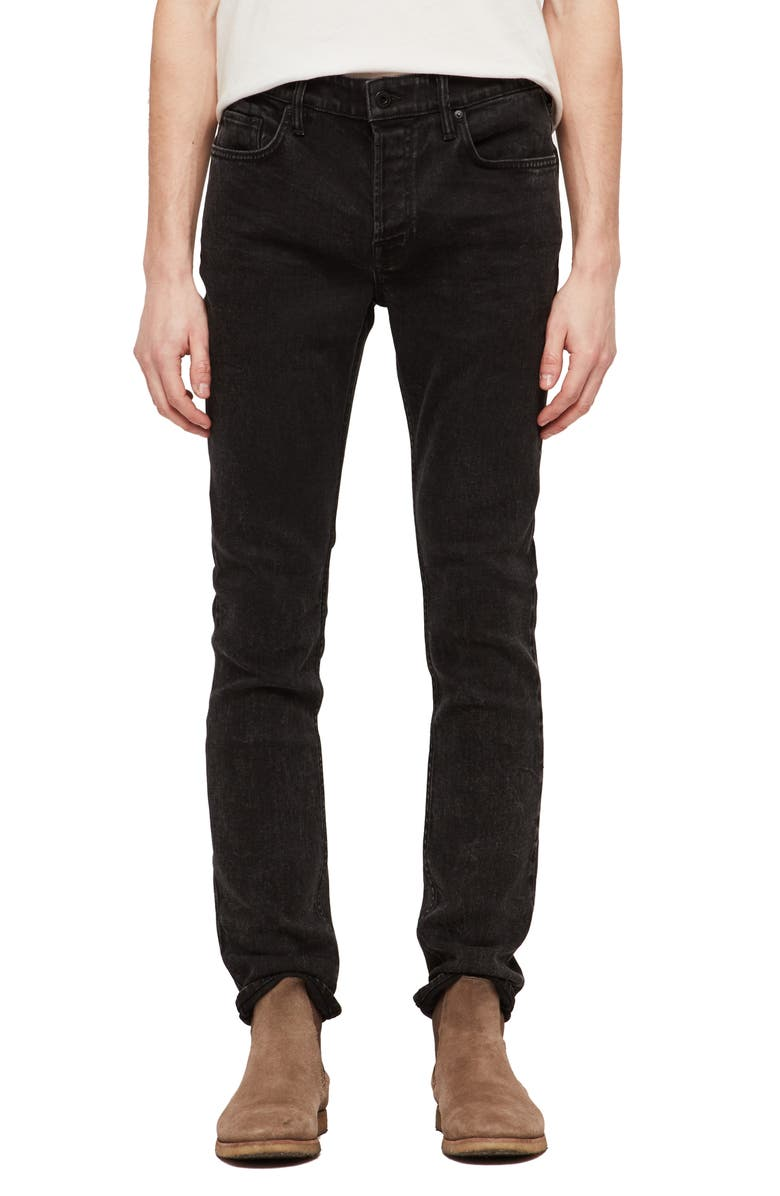 ALLSAINTS Cigarette Skinny Fit Jeans, Main, color, SMOKE BLACK