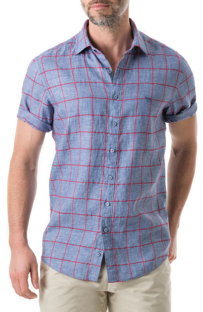 Rodd Gunn Linfield Linen Blend Plaid Shirt