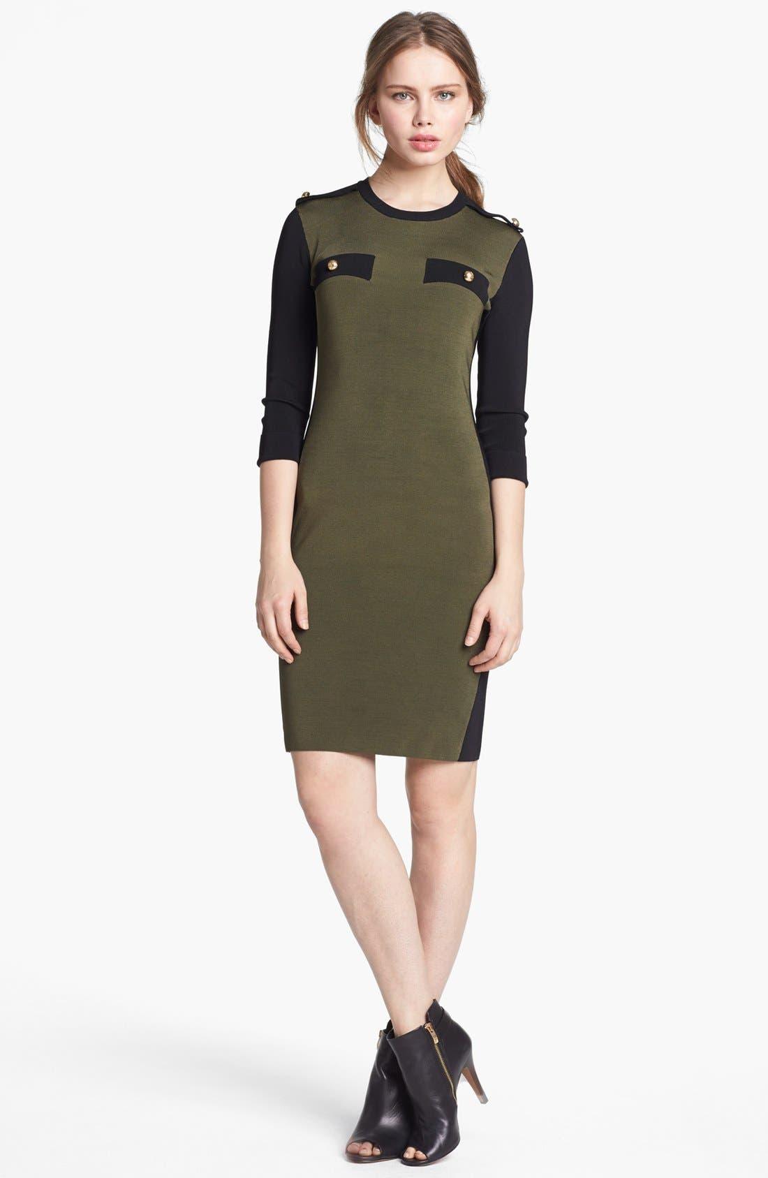 ,                             Military Sweater Dress,                             Main thumbnail 1, color,                             775