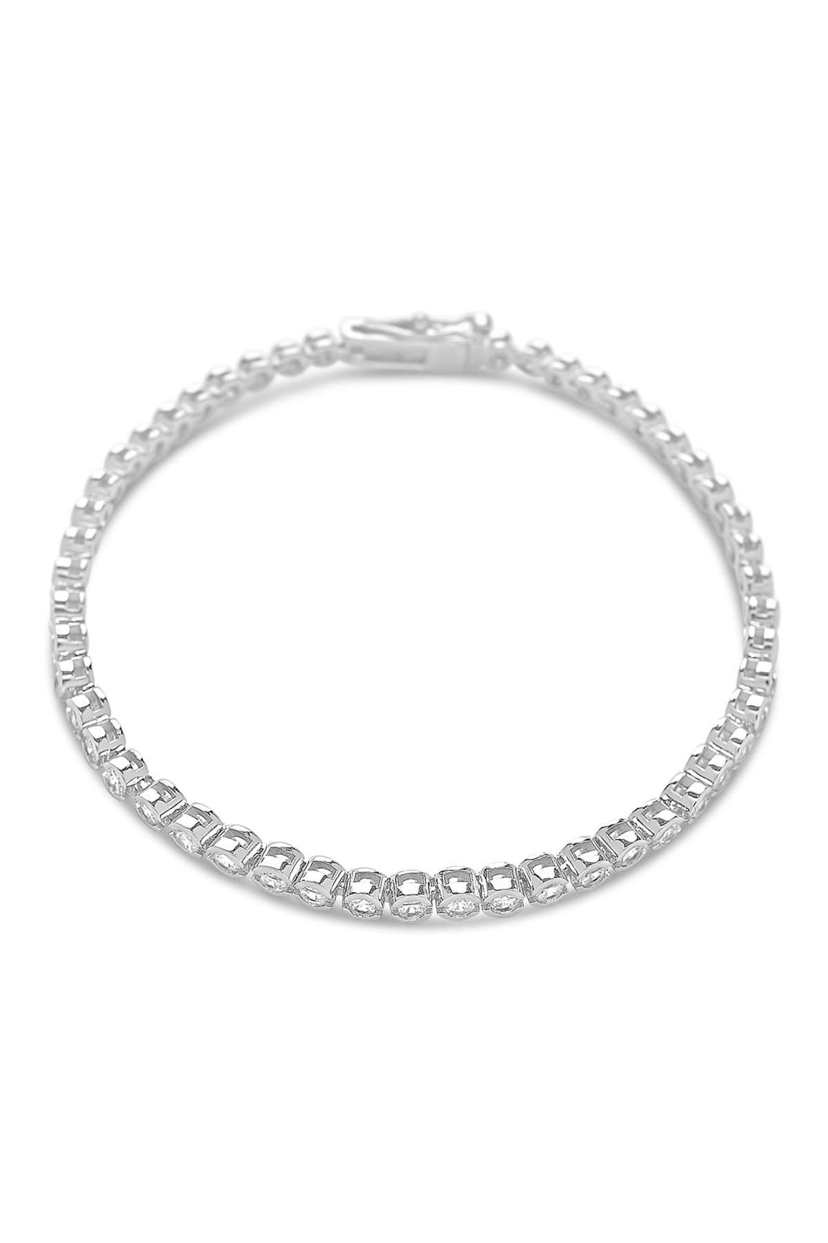 Image of Sterling Forever Rhodium Plated Bezel CZ Tennis Bracelet