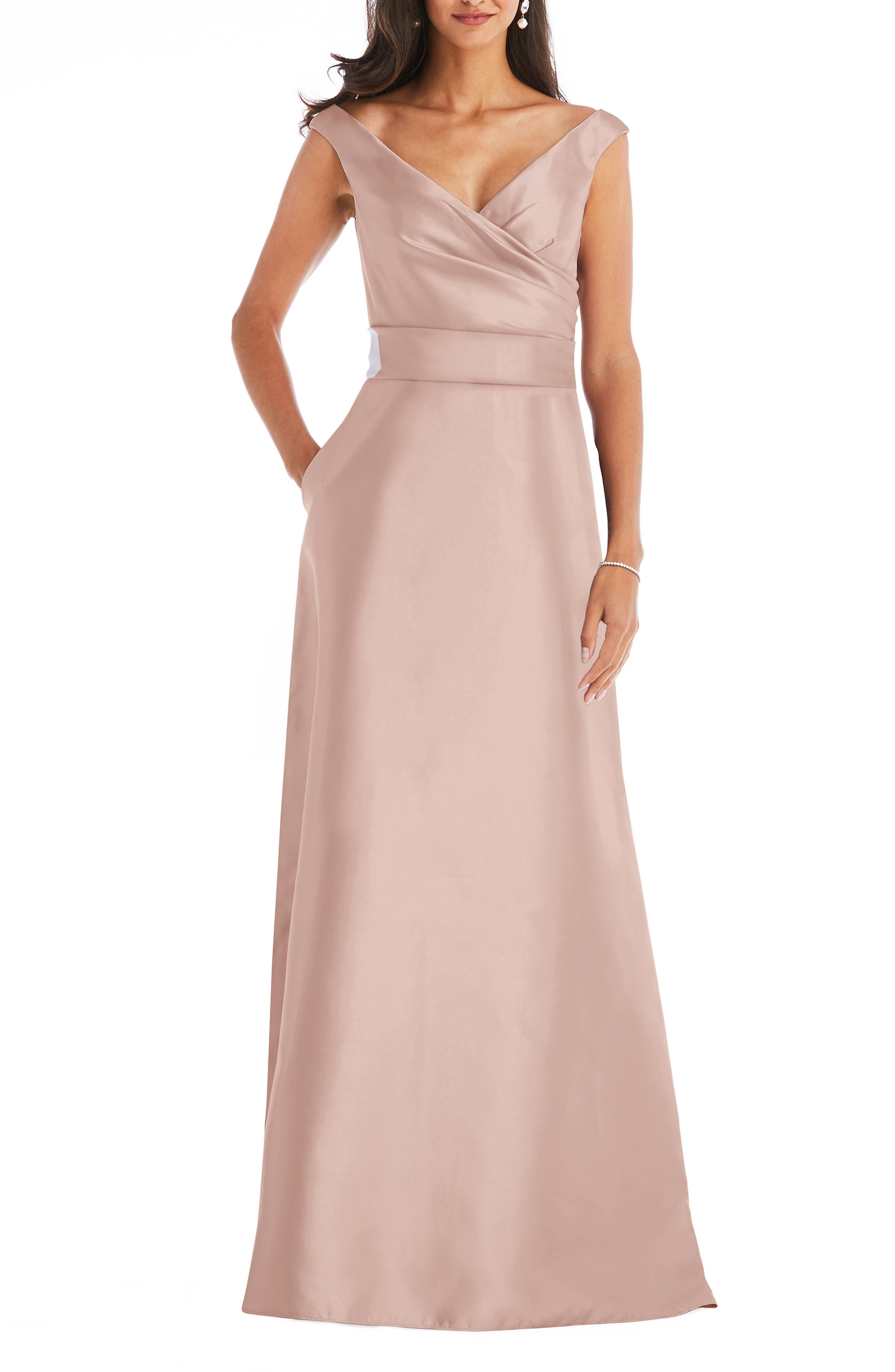 Off The Shoulder Satin Gown