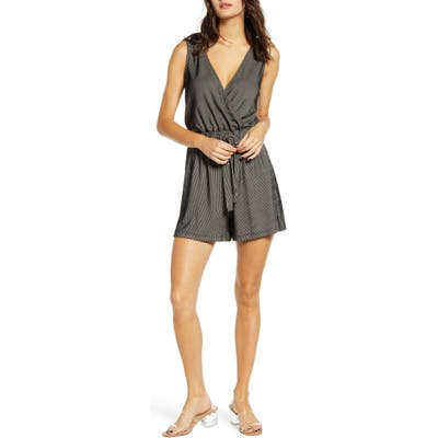 All In Favor Surplice Romper, Black