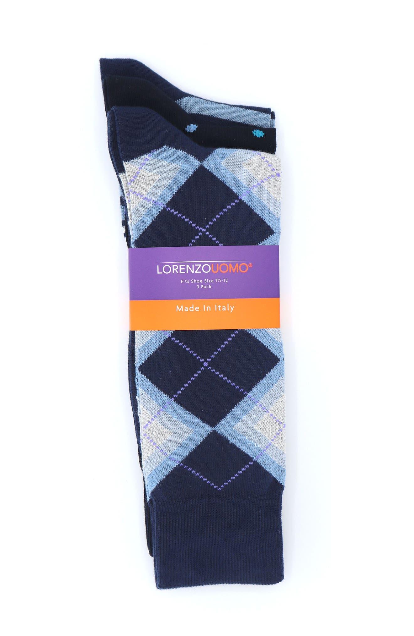 Image of Lorenzo Uomo Assorted Crew Socks - Pack of 3