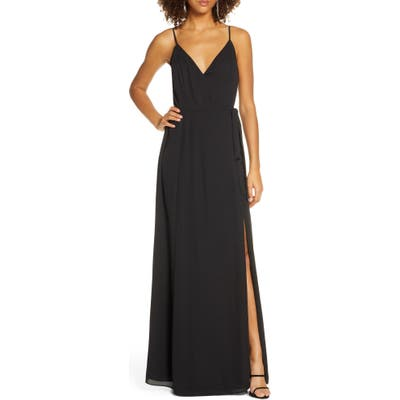Wayf The Angelina Slit Wrap Gown, Black