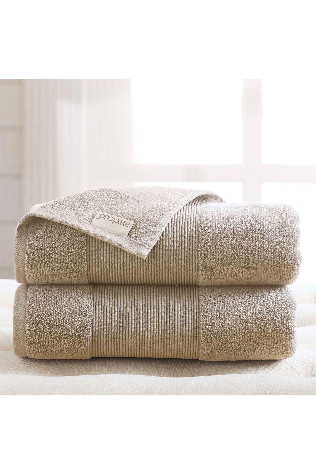 Image of Modern Threads Air Cloud Oversized Bath Sheet - Set of 2 - Sand