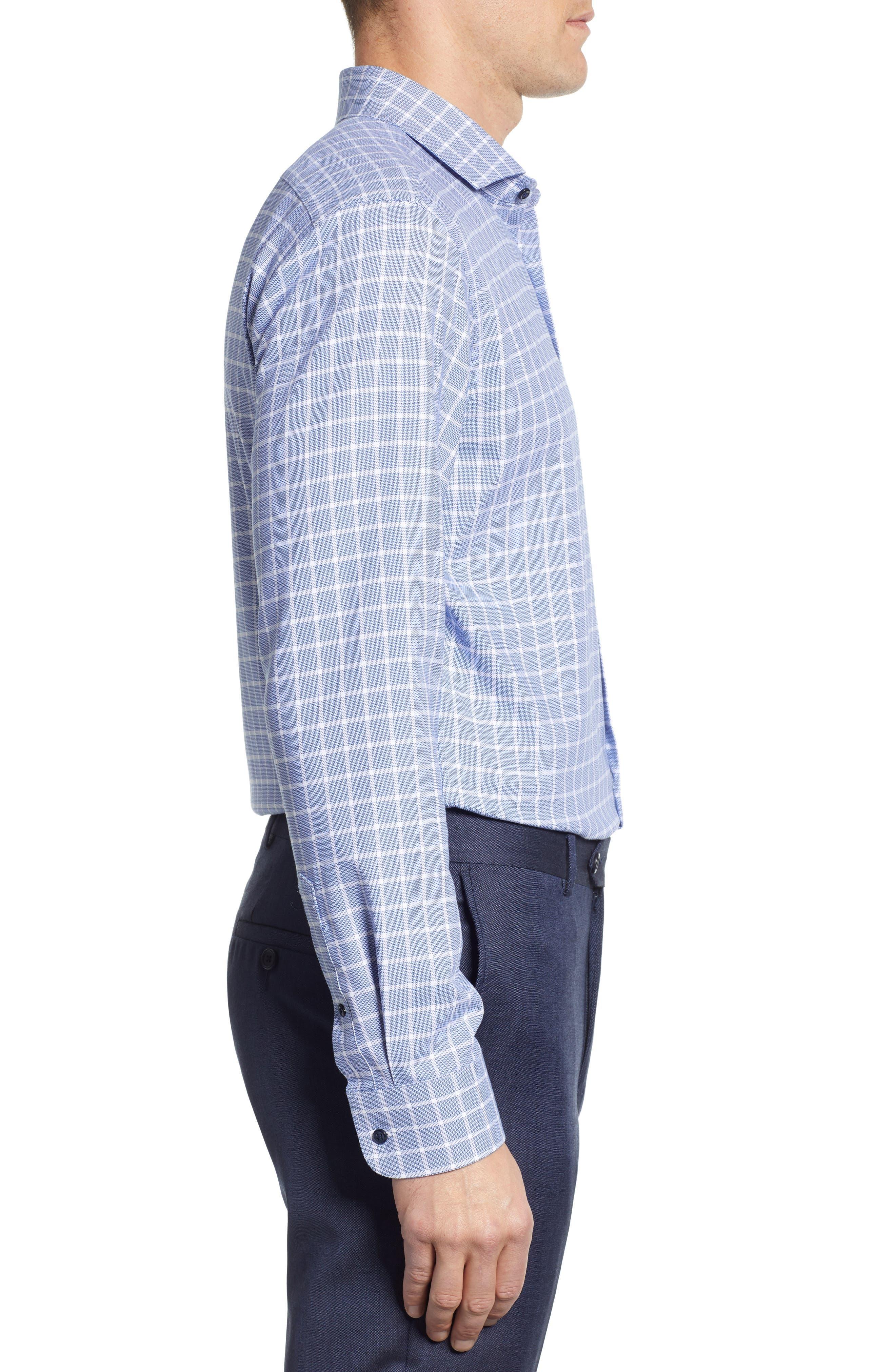 ,                             Tech-Smart Trim Fit Stretch Plaid Dress Shirt,                             Alternate thumbnail 4, color,                             410