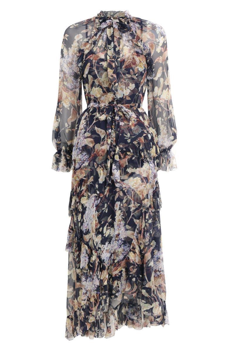 ZIMMERMANN Sabotage Ruffle Floral Print Silk Long Sleeve Midi Dress, Main, color, MIDNIGHT WISTERIA
