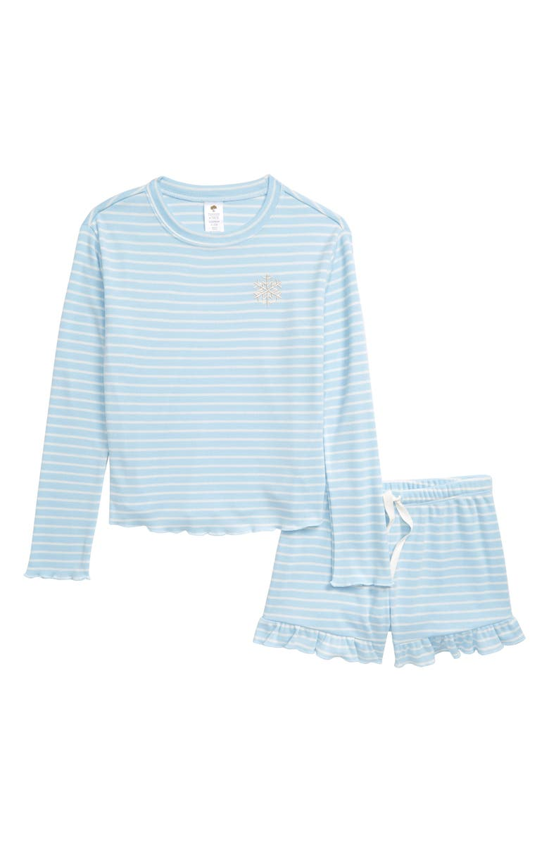 TUCKER + TATE Stripe Two-Piece Pajamas, Main, color, BLUE FALLS- IVORY STRIPE