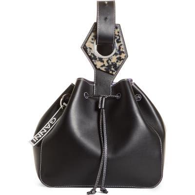 Ganni Large Drawstring Leather Bag - Black