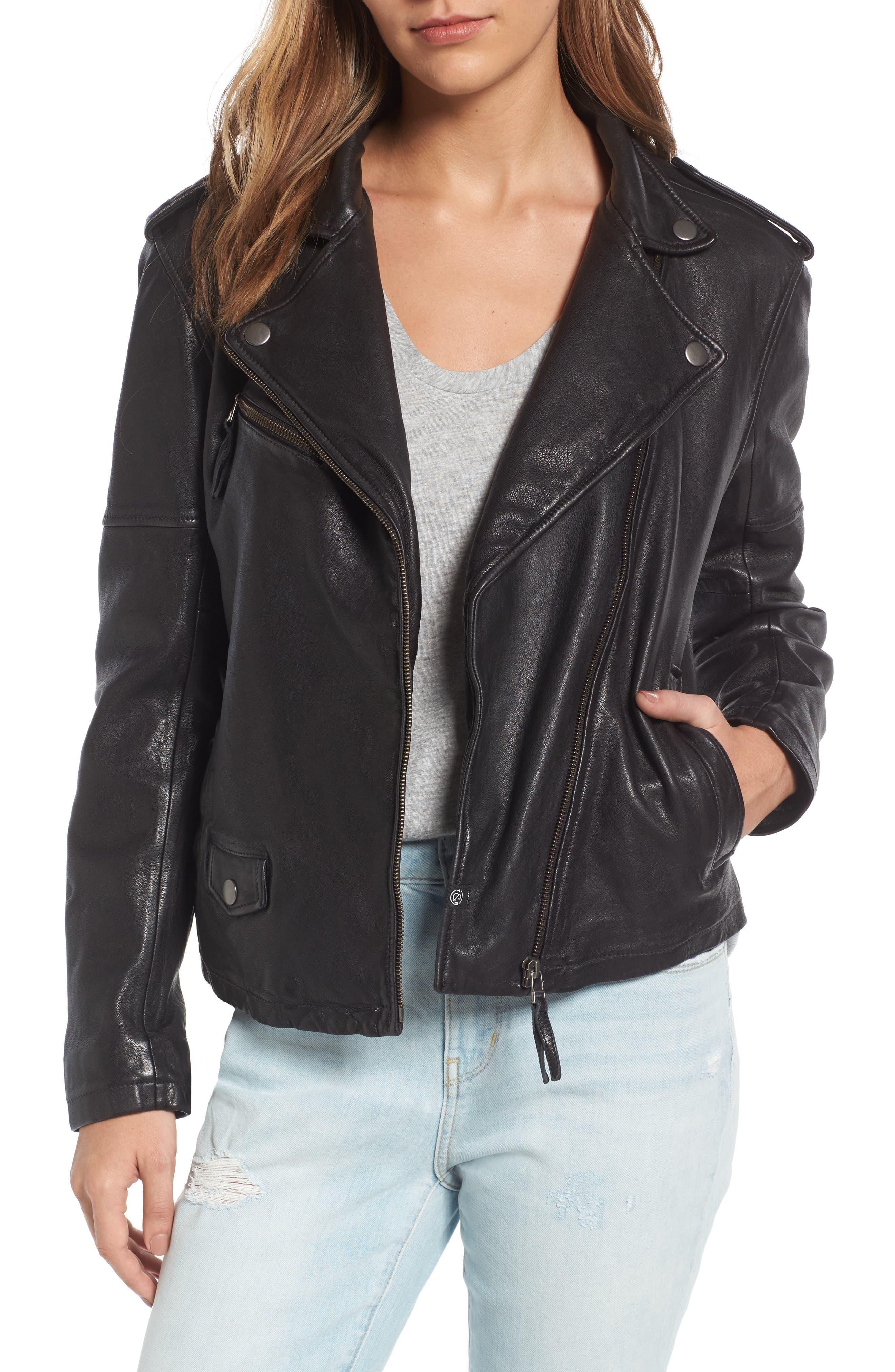 ,                             Leather Moto Jacket,                             Main thumbnail 1, color,                             001