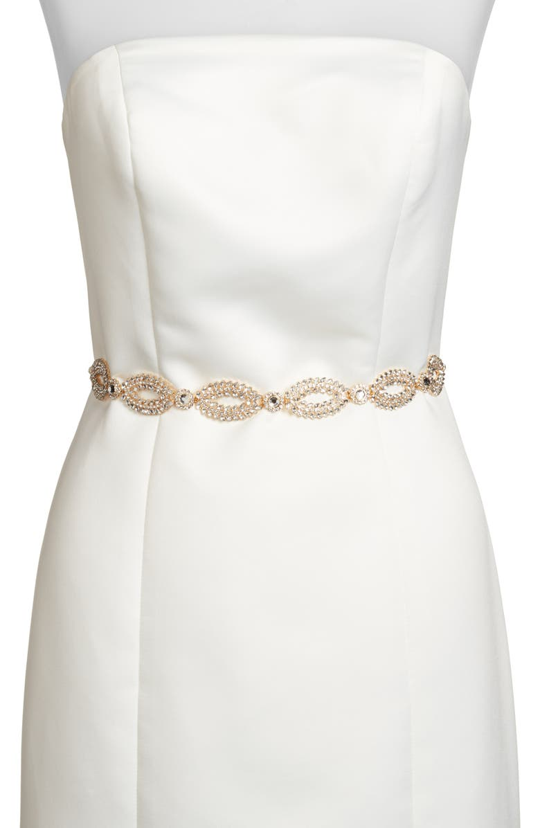KATE SPADE NEW YORK fish eye crystal bridal belt, Main, color, GOLD