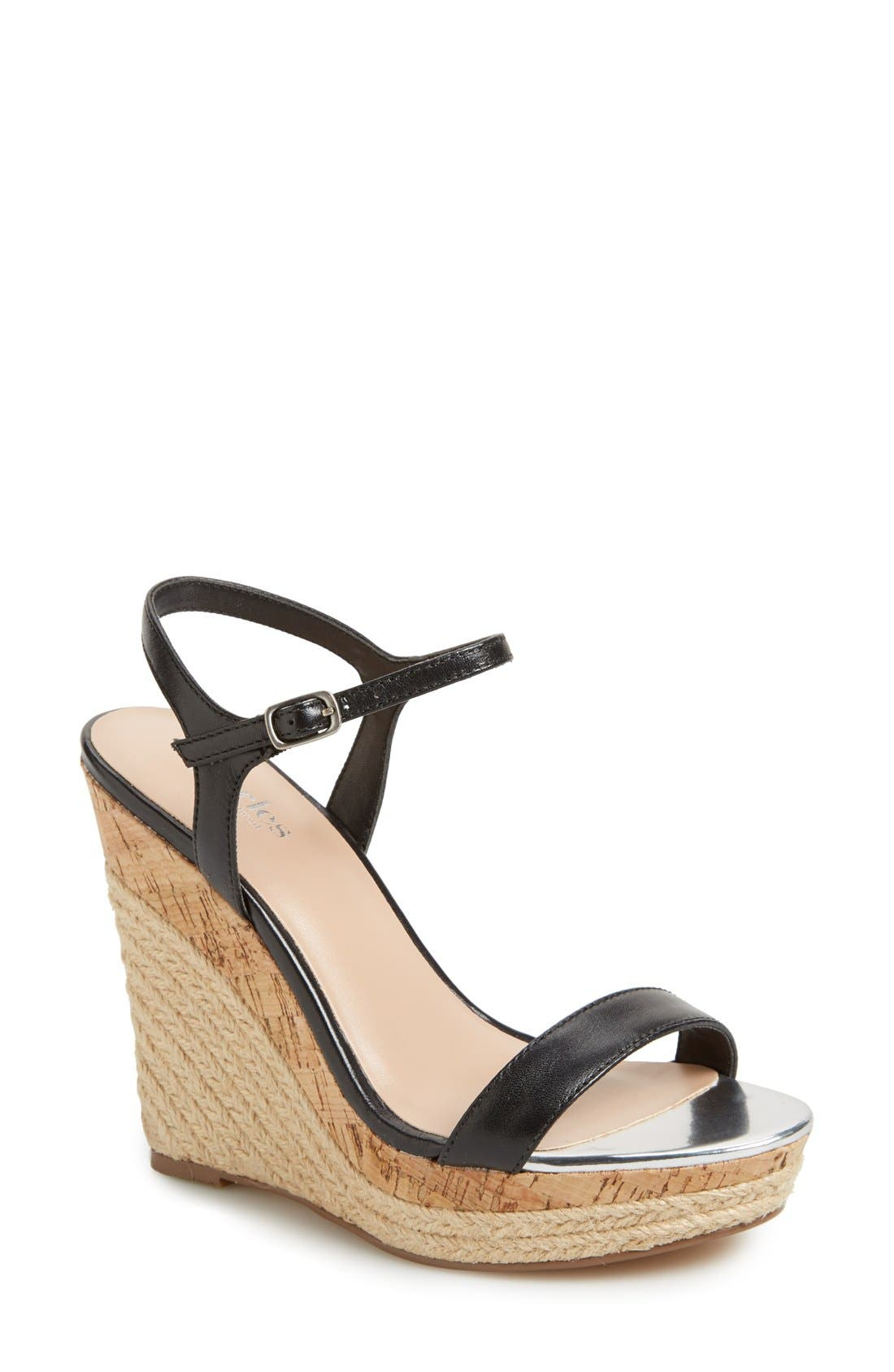 ,                             'Alabama' Espadrille Wedge Sandal,                             Main thumbnail 1, color,                             001