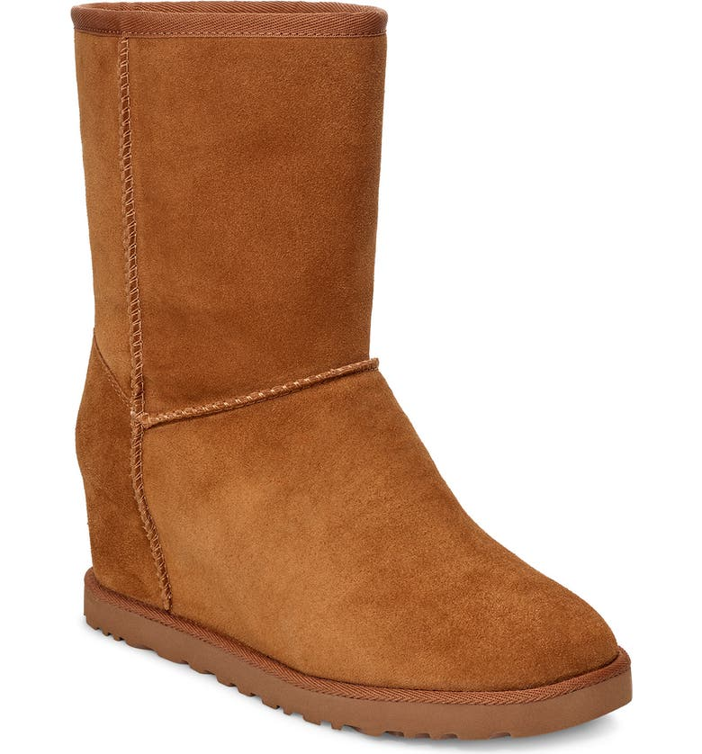 UGG<SUP>®</SUP> Classic Femme Wedge Bootie, Main, color, CHESTNUT SUEDE