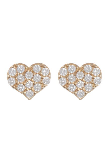 Image of Candela 14K Yellow Gold Swarovski CZ Pave Heart Stud Earrings