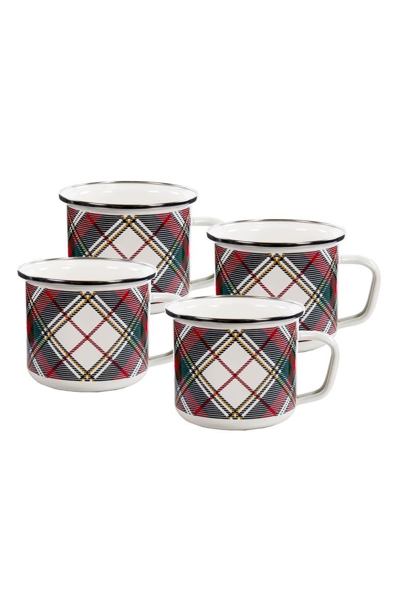GOLDEN RABBIT Highland Plaid Set of 4 Enameled Grande Mugs, Main, color, WHITE
