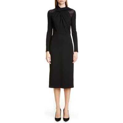 Jason Wu Collection Long Sleeve Twist Ponte Day Dress, Black