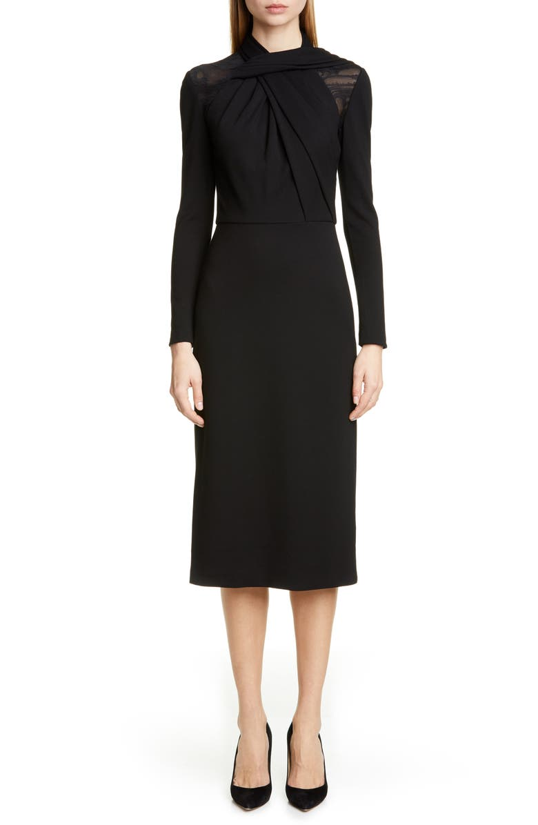 JASON WU COLLECTION Long Sleeve Twist Ponte Day Dress, Main, color, BLACK