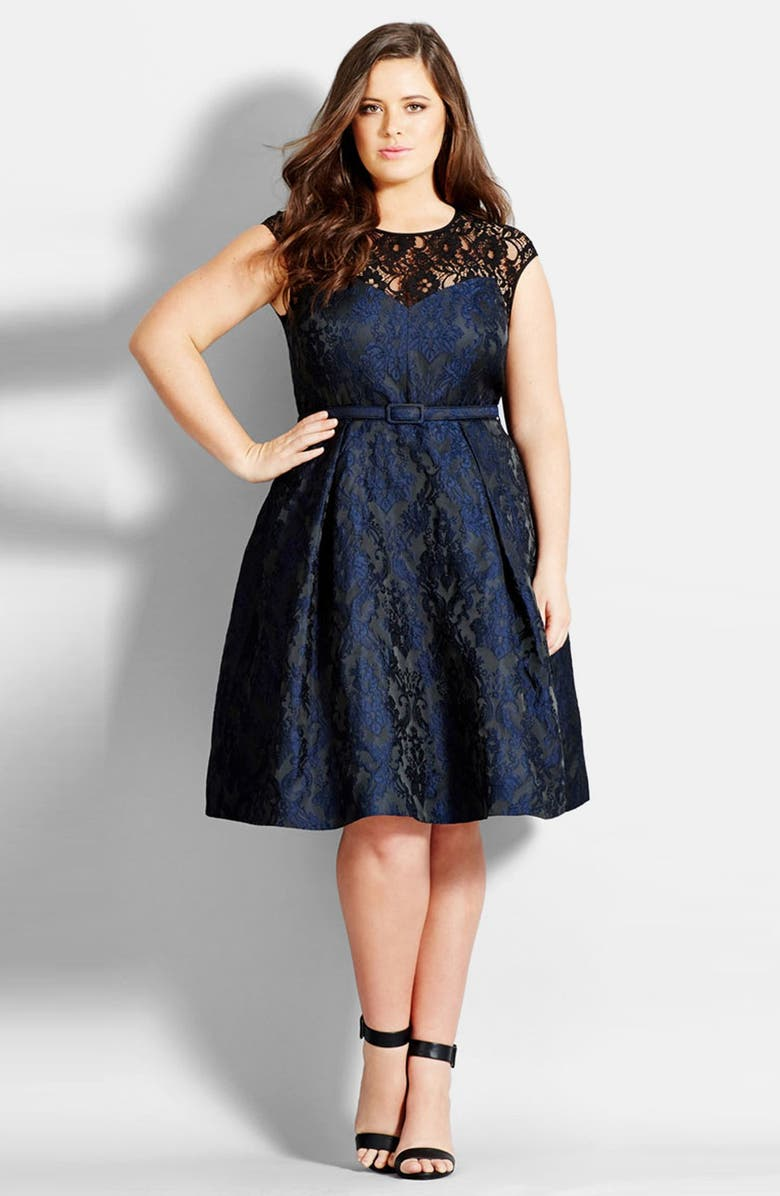 CITY CHIC Lace Neck Brocade Dress, Main, color, 499