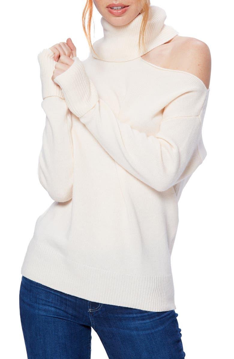 PAIGE Raundi Cutout Shoulder Sweater, Main, color, IVORY