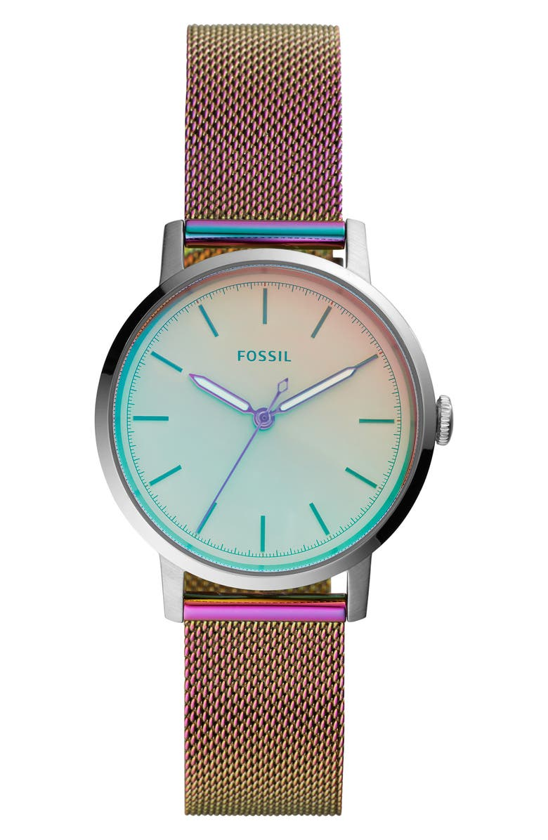 FOSSIL Neely Mesh Strap Watch, 34mm, Main, color, IRIDESCENT/ SILVER
