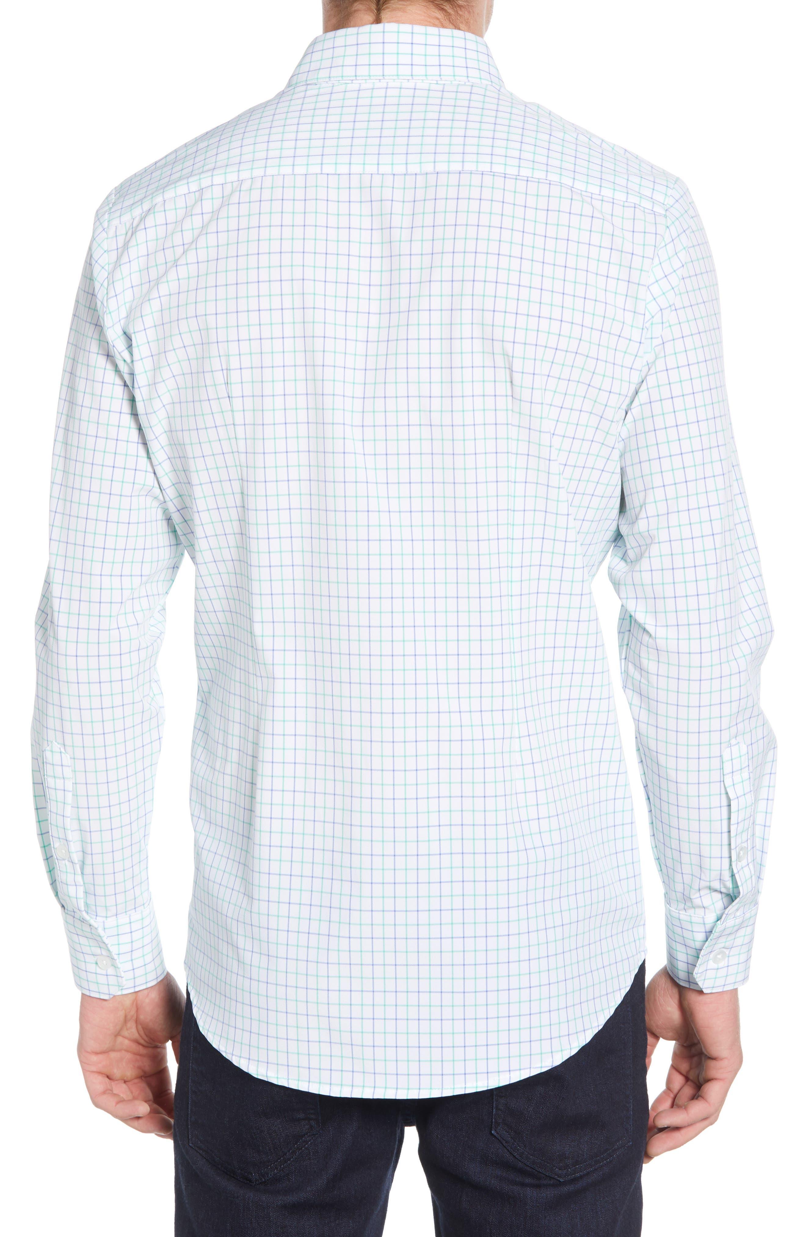 ,                             Hopkins Trim Fit Check Performance Sport Shirt,                             Alternate thumbnail 3, color,                             GREEN