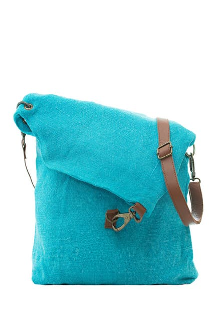 Image of Vintage Addiction Foldover Jute & Leather Crossbody Bag
