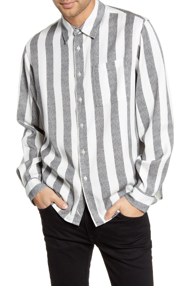 SATURDAYS NYC Perry Stripe Button-Up Twill Shirt, Main, color, BLACK
