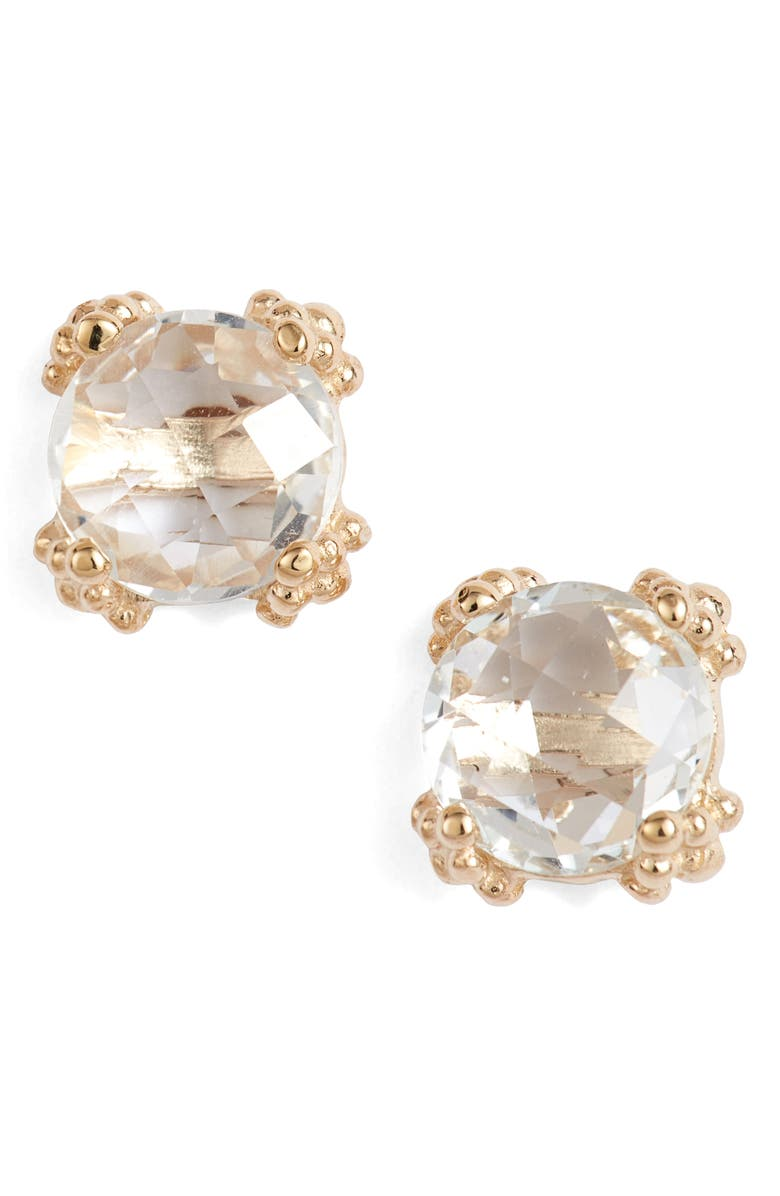 ANZIE Dewdrop White Topaz Stud Earrings, Main, color, GOLD/ WHITE TOPAZ