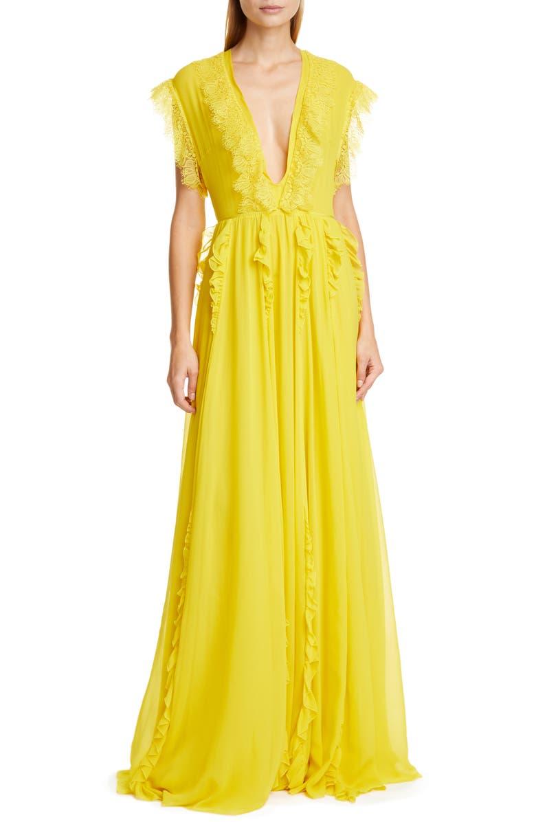 GIAMBATTISTA VALLI V-Neck Gown, Main, color, OCRA