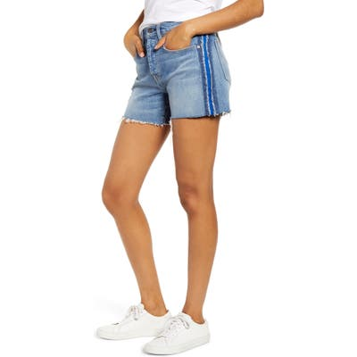 Hudson Jeans Jade Side Stripe Cutoff Boyfriend Shorts, Blue