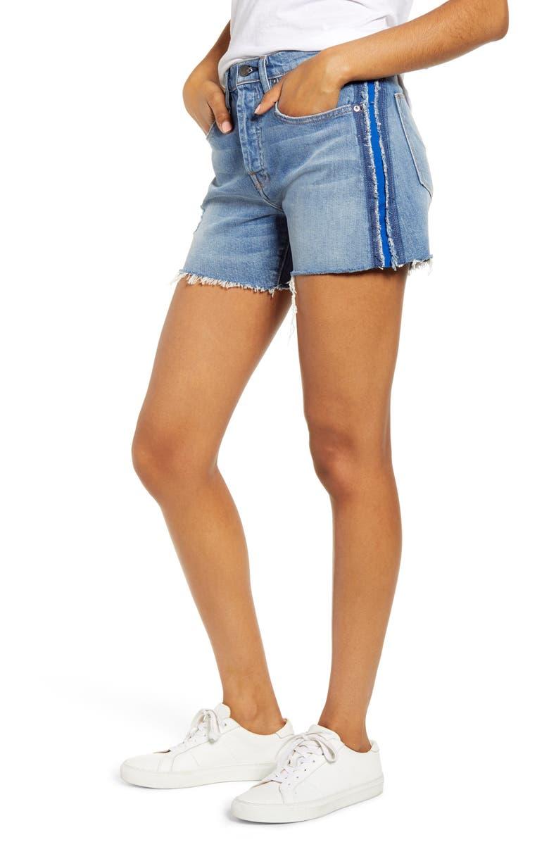 HUDSON JEANS Jade Side Stripe Cutoff Boyfriend Shorts, Main, color, NIGHT TIDE
