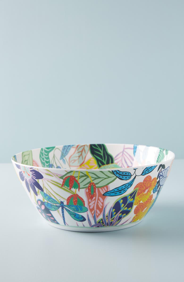 ANTHROPOLOGIE Tropical Melamine Serving Bowl, Main, color, 100
