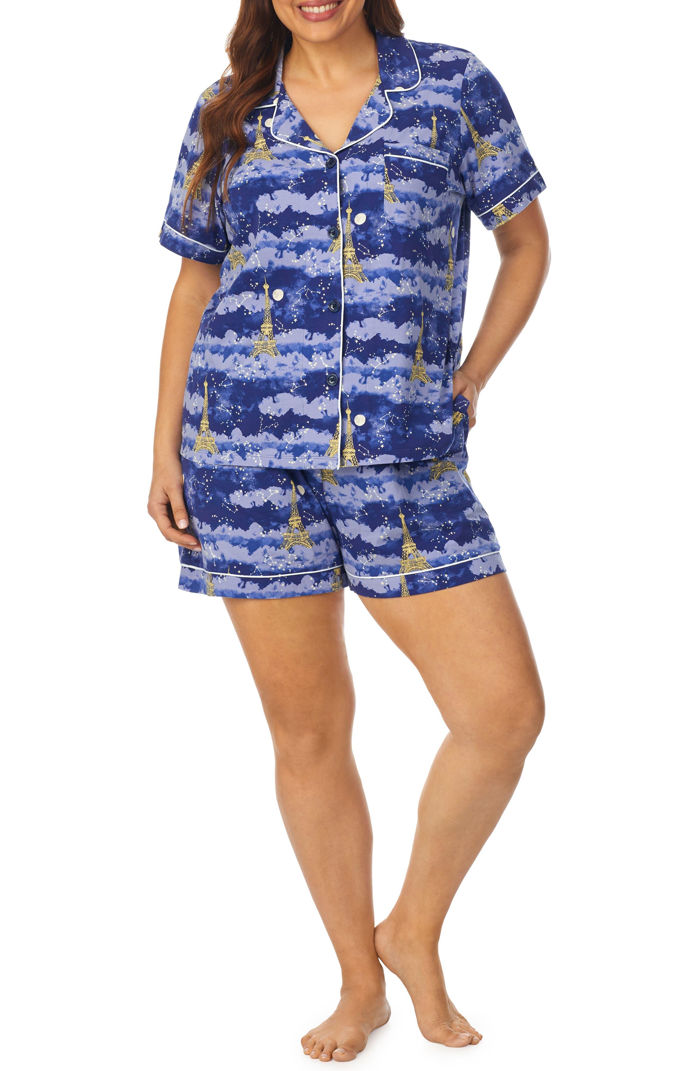 Plus Size Women's Beadhead Pajamas Classic Stretch Organic Cotton Short Pajamas