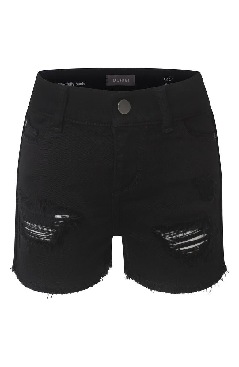 DL1961 Lucy Cutoff Black Distressed Denim Shorts, Main, color, 001