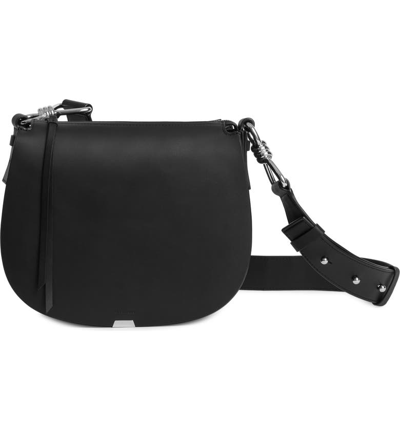 ALLSAINTS Captain Round Leather Crossbody Bag, Main, color, BLACK