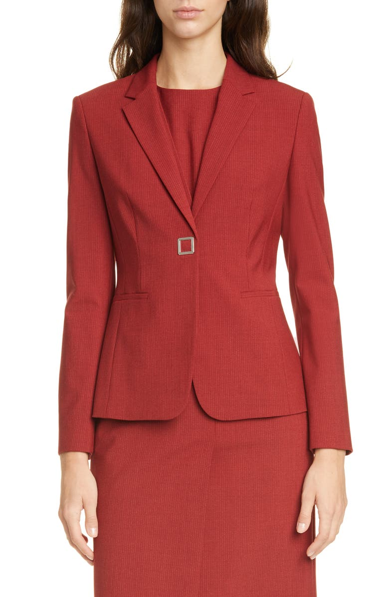 BOSS Julea Pinstripe Suit Jacket, Main, color, RUBY FANTASY