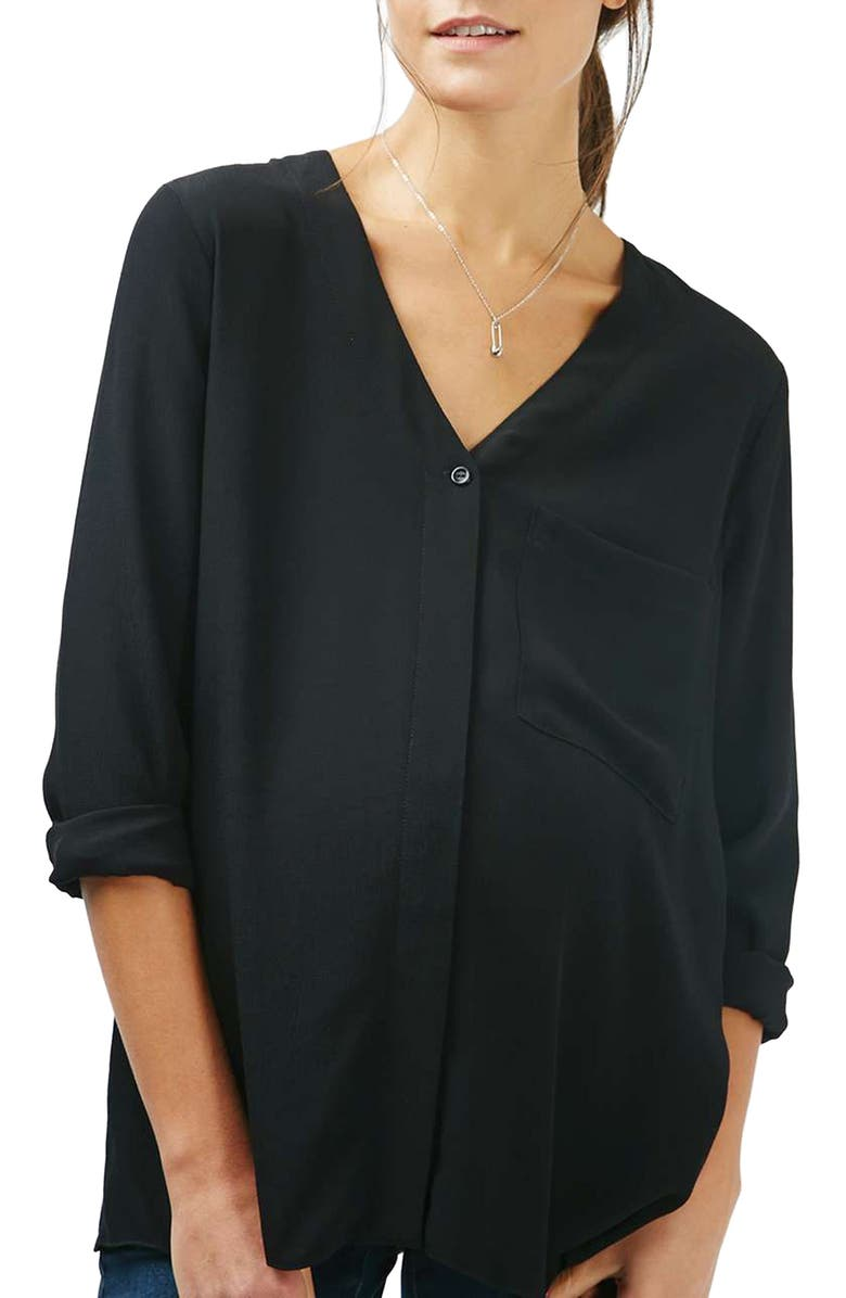 TOPSHOP Slouchy Pocket Maternity Blouse, Main, color, 001