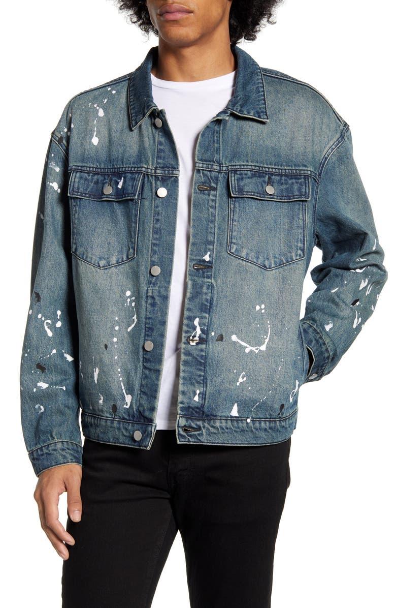 WESC Paint Splatter Denim Jacket, Main, color, 433