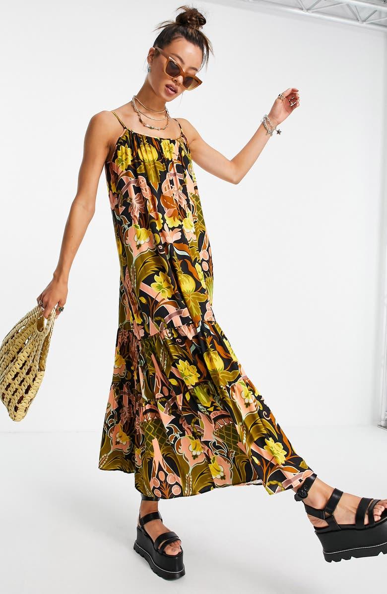TOPSHOP Flowy Maxi Dress, Main, color, BLACK MULTI