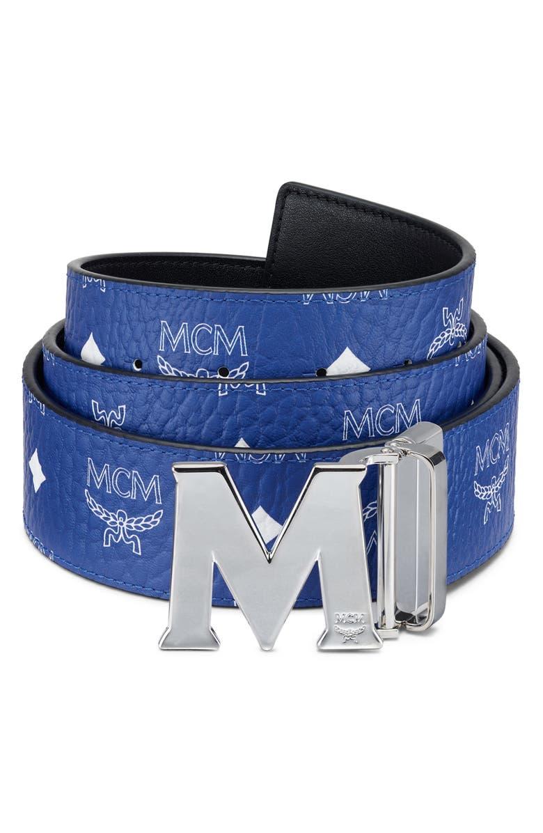 MCM Claus Reversible Belt, Main, color, SURF THE WEB