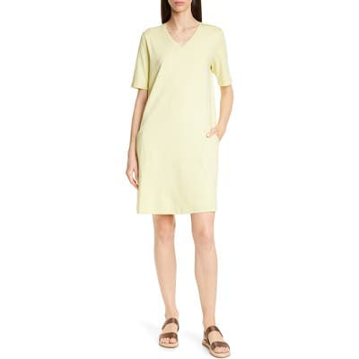 Eileen Fisher Stretch Cotton A-Line Dress, Green