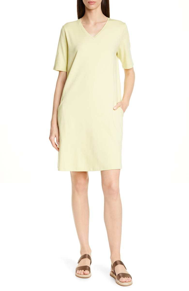 EILEEN FISHER Stretch Cotton A-Line Dress, Main, color, 380