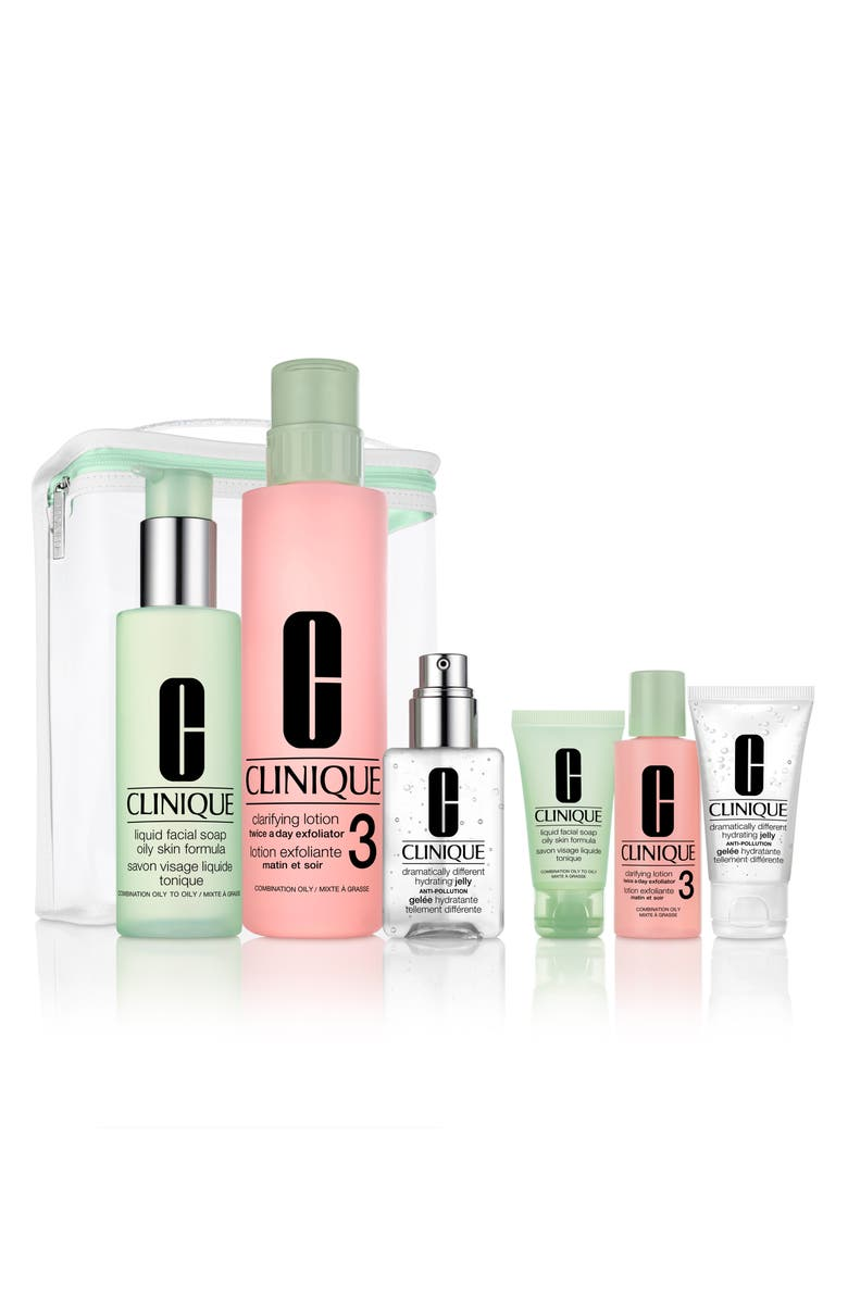CLINIQUE Great Skin Everywhere 3-Step Skin Care Set for Combination or Oily Skin, Main, color, NO COLOR