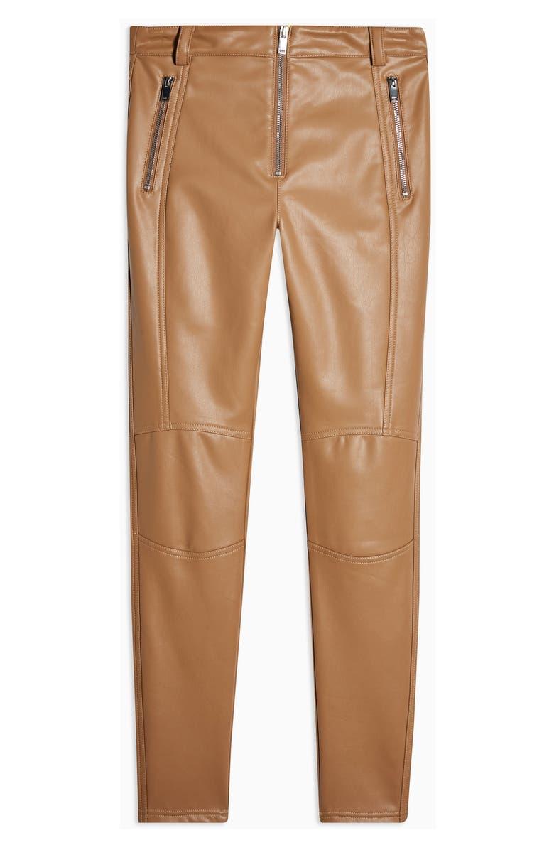 TOPSHOP Tammy Faux Leather Biker Pants, Alternate, color, TAN