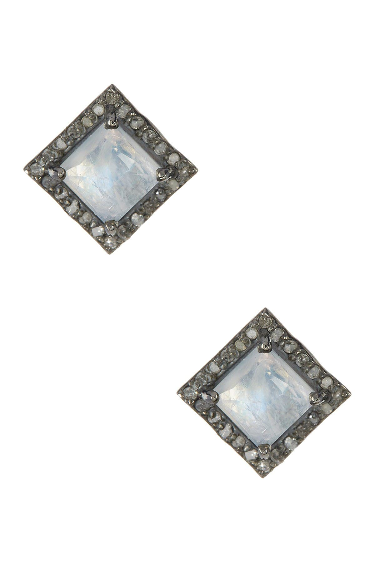 Image of ADORNIA Millicent Moonstone & Champagne Diamond Earrings - 0.30 ctw